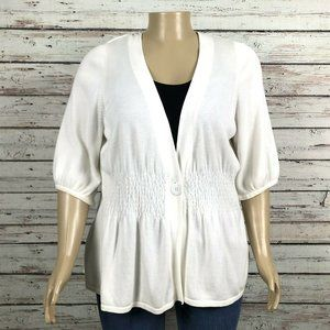 Lane Bryant White 3/4 Sleeve Cardigan Sweater